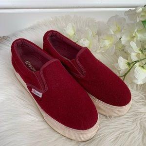 Superga Maroon Wool Sneakers 35